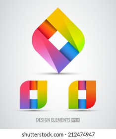 Vector logo origami. Abstract logo design elements. Color abstract shapes.