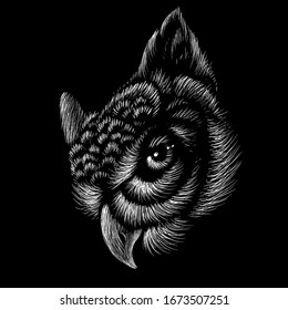 The Vector logo owl for tattoo or T-shirt design or outwear.  Hunting style owl background. This hand drawing would be nice to make on the black fabric or canvas.