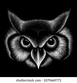 The Vector logo owl for T-shirt design or outwear.  Hunting style owl background.