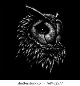 The Vector logo owl for T-shirt design or outwear.  Hunting tattoo owl  style background.