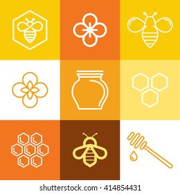 Vector logo and packaging design templates in trendy linear style - natural and farm honey concepts - labels and tags with bees, honeycombs and flowers