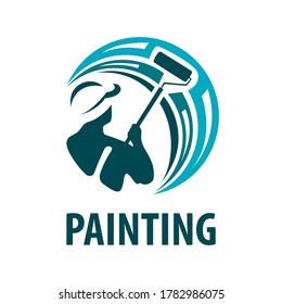 Vector logo of a painter, painting work