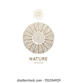 Vector logo pattern of nature elements. Linear icon of landscape with trees, river and sun - business emblems, badge for a travel, farming and ecology concepts, health and yoga Center.