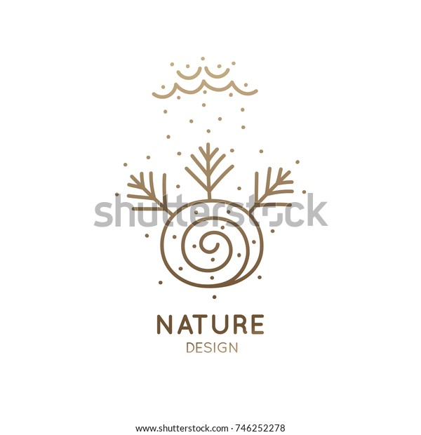 Vector logo pattern of nature elements. Linear icon of minimal landscape with trees, snow, clouds, lake - business emblems, badge for a travel, farming and ecology concepts, health and yoga Center.