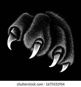 The Vector logo paw with  claws for T-shirt design or outwear. This drawing would be nice to make on the black fabric or canvas.