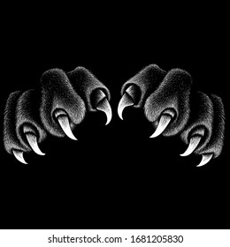 The Vector logo paw with  claws for T-shirt design or outwear.