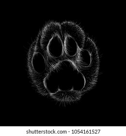 The Vector logo paw for T-shirt design or outwear. This is print for black canvas.