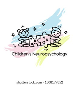 Vector logo for pediatric neuropsychology. Pediatric neuropsychology. Design element for children's centers, clinics, psychologists and other uses.