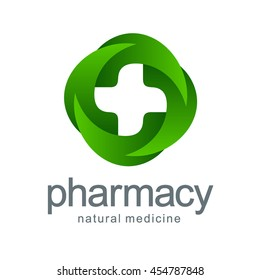 Vector logo pharmacy. Green cross from the leaves. Eco, bio, organic emblem
