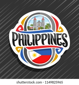 Vector logo for Philippines country, fridge magnet with filipino state flag, original brush typeface for word philippines and national filipino symbol - Molo church in Iloilo on cloudy sky background.