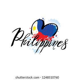 Vector logo for Philippines country, fridge magnet with filipino state flag, original brush typeface for word philippines and national filipino symbol -