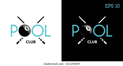Vector logo pool, American Billiards, 8, with the image of the text on the background of billiard Kiev, made on a light and dark background.
