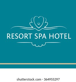 Vector logo of the resort,hotel, spa. Frame made of seashells with pearl and heart. Rehabilitation and recreation. Contour logo for thermal spa. Outline style.