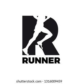 Vector logo runner inside letter R
