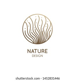 Vector logo of seaweed elements. Round emblem in minimal linear style - design of natural products, flower shop, cosmetics, ecology concept, health, spa, raw food package.