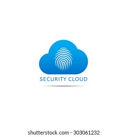 Vector logo of security cloud. Template icon of cloud with fingerprint.