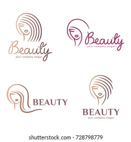 Vector logo set for beauty salon, hair salon, cosmetic