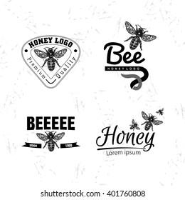 Vector logo set with bee. Honeybee as main element of logotypes