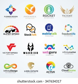 Vector Logo Set, Car and Services, Insurance, Web design, Lion, Technology sign symbol, Brand identity template collection.