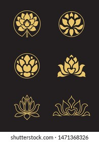 Vector logo set with golden lotus flowers on a black background for spa, boutique, beauty salon, cosmetician, shop, yoga class, hotel, icon. Modern design icon sign floral beauty illustration.