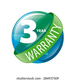 vector logo in the shape of a circle 3-year warranty