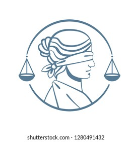 Vector logo in the shape of «Femida», goddess of justice and law.