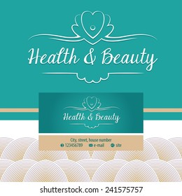 Vector logo with shell and pearl. Gold and turquoise. Trendy and stylish. Vintage. The premium segment. Identification elements: logo, background, colors, decorative ribbon.  business card