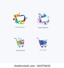vector logo shopping colorful trolley of goods