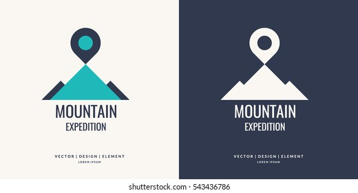 Vector logo and sign for Hiking and climbing. Vector illustration.