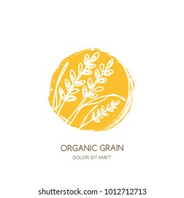 Vector logo sign, label or package watercolor circle emblem with linear hand drawn rice, wheat ears, rye grains. Concept for asian agriculture, organic cereal products, bread and bakery.