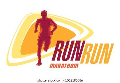 Vector logo silhouette of a runner running forward dynamics power marathon