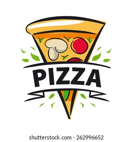 vector logo slice of pizza and ribbon