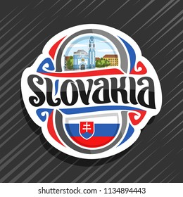 Vector logo for Slovakia country, fridge magnet with slovakian flag, brush typeface for word slovakia, national slovakian symbol - Blue Church of St. Elizabeth in Bratislava on cloudy sky background.