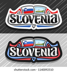 Vector logo for Slovenia country, fridge magnet with slovenian state flag, original brush typeface for word slovenia and national slovenian symbol - Pilgrimage Church on island on mountains background