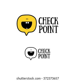 Vector logo. Smile face sign pin icon. Happy smiley chat symbol. Speech bubble.