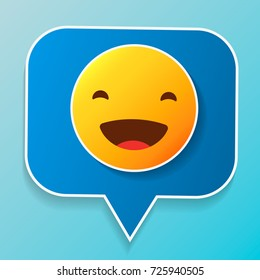 Vector logo. Smile face sign pin icon. Happy smiley chat symbol