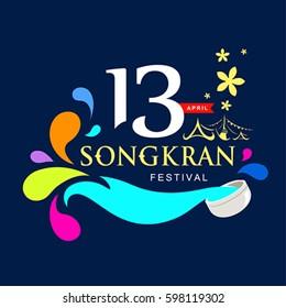 Vector logo songkran festival of Thailand design background, illustration