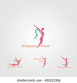 vector logo for spa, beauty and relaxation treatments. Woman butterfly. Beauty and health. Concept of fitness and slim