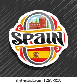 Vector logo for Spain country, fridge magnet with spanish flag, original brush typeface for word spain, spanish symbol - museum and theatre of Salvador Dali in Figueras on blue cloudy sky background.