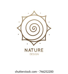 Vector logo of spiral sun. Abstract linear icon - round business emblems, badge for a travel, tourism and ecology concepts,  badge for a travel, health and yoga Center.
