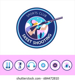 Vector logo of the sport club. Shooting Skeet. Set of design elements. Round icons.