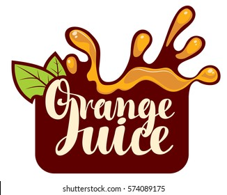 vector logo with a spray of fresh orange juice