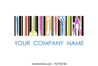Vector logo for stationery shop or company. Concept logo