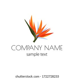 Vector logo with strelizia. Simple sign for flower shop, organic shop, restaurant with bird of paradise flower.