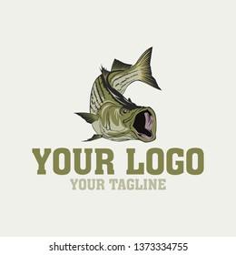 vector logo striped bass fishing