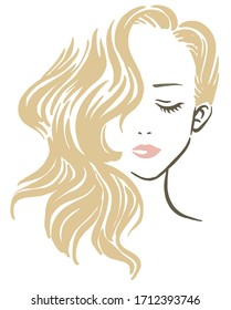 Vector logo style drawing of a beautiful girl with long wavy hair