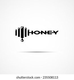vector logo of stylized word honey in black