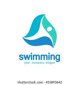 Vector logo for swimming. Concept of vector icon with the swimming man on a wave.