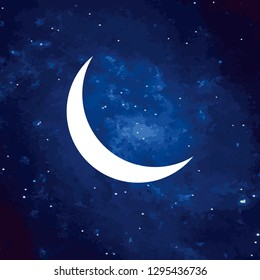 Vector. Logo, symbol of the moon. Icon Illustration of white phase moon on a cosmic background. Graphic image. Stylization