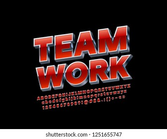 Vector Logo Team Work with metallic 3D Font. Rotated Red and Silver Alphabet Letters, Numbers and Symbols.